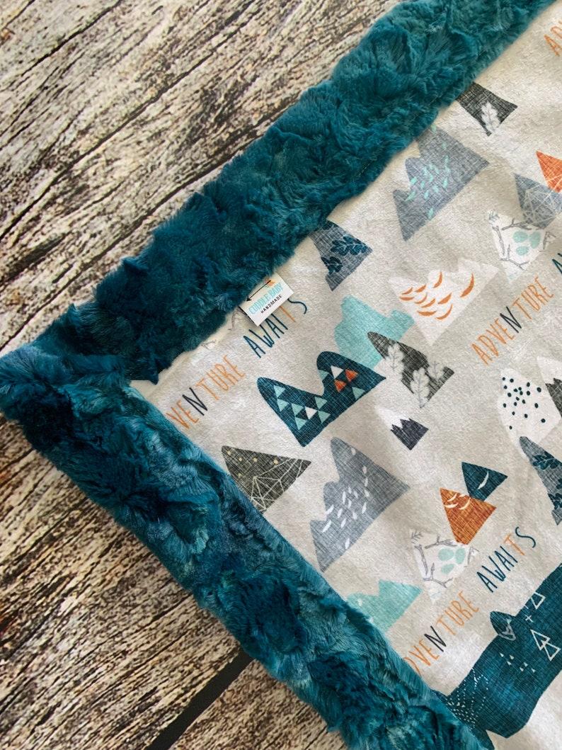 Custom Handmade Minky Blanket Ready to Ship Adventure Awaits