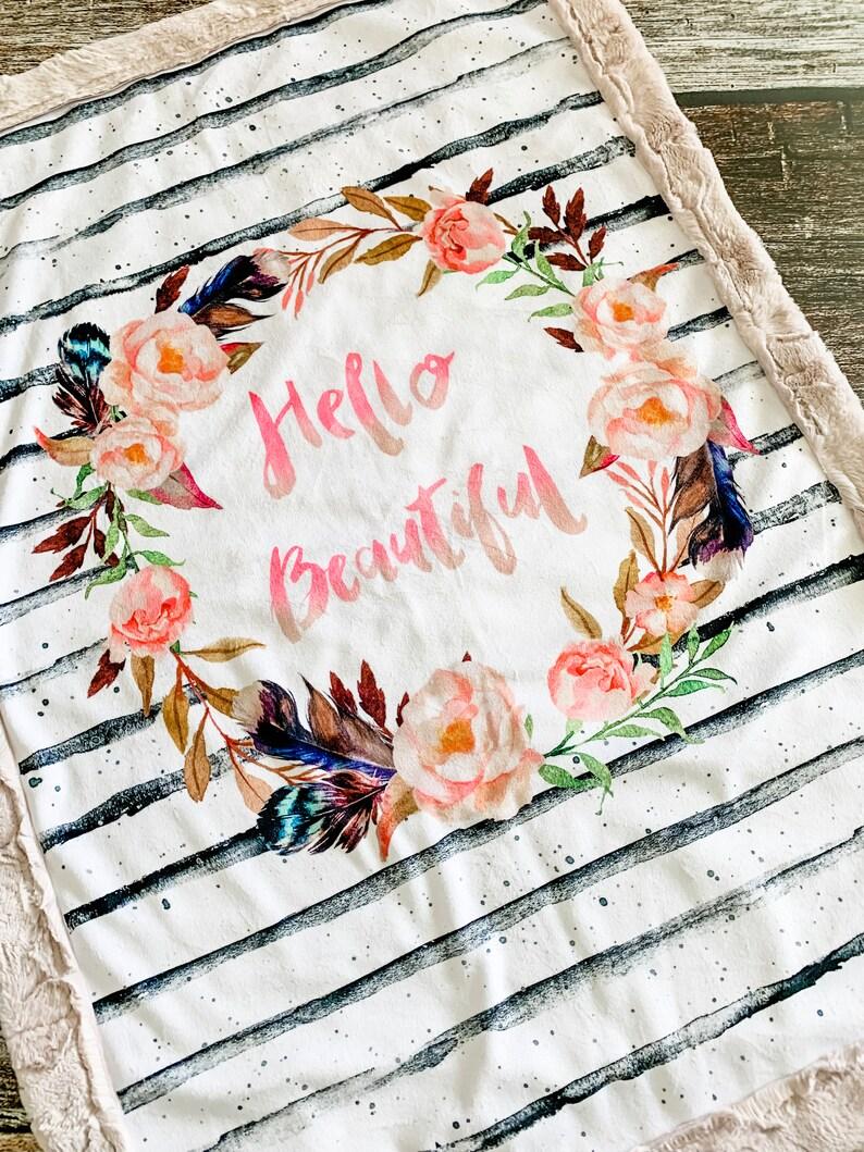 Ready to Ship Custom Handmade Minky Blanket Hello Beautiful