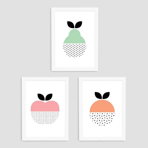 3 Fruit Scandinavian Kid Printables Set, Apple Wall Print, Orange  Printable, Scandinavian Kid Print, Kid Wall Art, Nursery Wall Decor