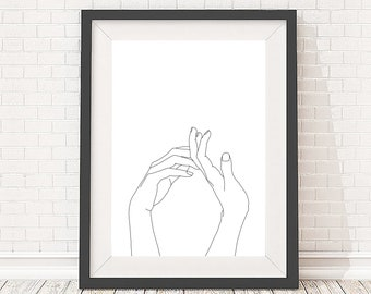 Minimal hands line drawing, minimal art print, figurative line drawing, 5x7, A5, 8x10, A4, 11x14 and A3 sizes available