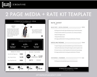 3 page media kit template press kit for bloggers etsy