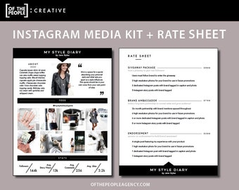 """2-Page Media Kit + Rate Sheet Template   For Instagram Influencers   Digital Download   """"Instafamous"""""""