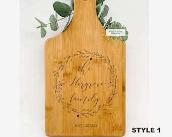 Personalized Paddle Board Bamboo Wood --21050-PADB-001 Custom Paddle Board Wreath Special Date Wedding Gift Anniversary Chef Foodie Gift