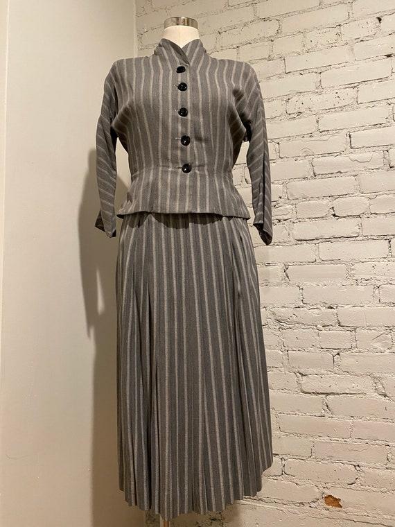 Vintage 1940s Marie Phillips Striped Skirt Suit