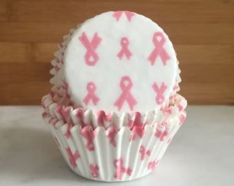 Breast Cancer Ribbon Cupcake Liners, Standard Sized, Baking Cups (50)