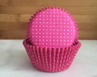 fa1442b0a9a Hot Pink dotted Cupcake Liners