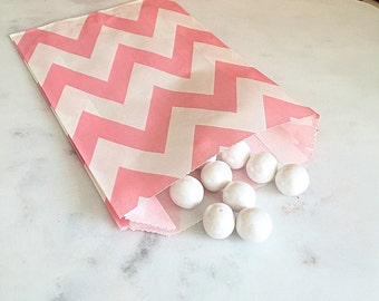 Light Pink Chevron Goodie Bags, Party Favors, Food safe (12)