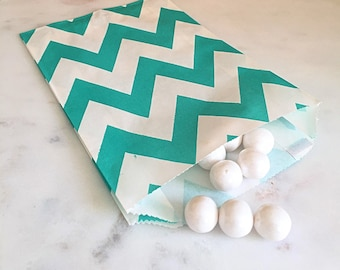 Teal Chevron Goodie Bags, Party Favors, Food safe (12)