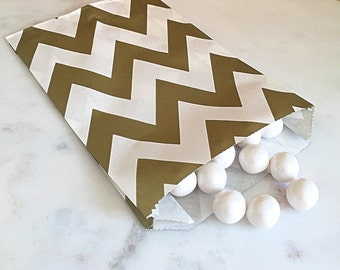 Metallic Gold Chevron Goodie Bags, Party Favors, Food safe (12)