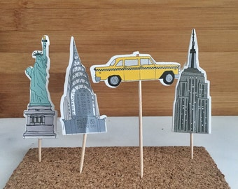 New York City, Cake, Cupcake Toppers (12)
