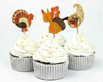 Thanksgiving, Fall Themed, Cupcake Toppers (12)