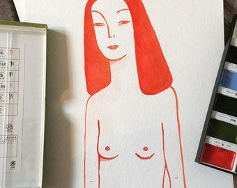 Orange girl in watercolour