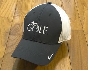 b992cc8b61342 Golf Michigan hat custom embroidered design white gray Nike Swoosh Baseball  cap unique father s day dad birthday gift FREE SHIPPING