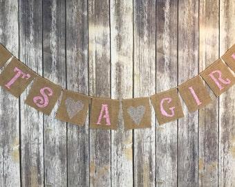 It's A Girl Banner, Baby Girl Banner, Baby Girl Shower Banner, Pink Baby Shower banner