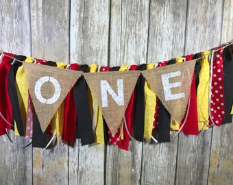 Mickey Mouse Birthday Banner, Mickey Mouse First Birthday, High Chair Birthday Banner, First Birthday Banner, Mickey Mouse High Chair Banner