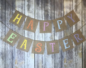 Burlap Happy Easter Banner, Happy Easter Banner, Easter Banner