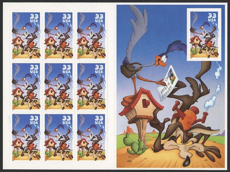 10 Unused Scott# 3391 Vintage Unused Wile E Coyote /& Roadrunner Stamps 2000 book