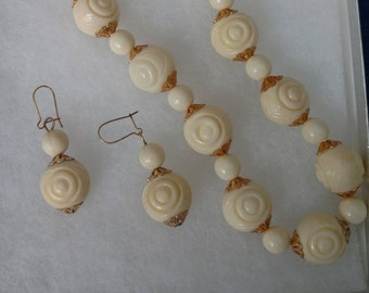 Vintage Necklace and Pierced Earring Set
