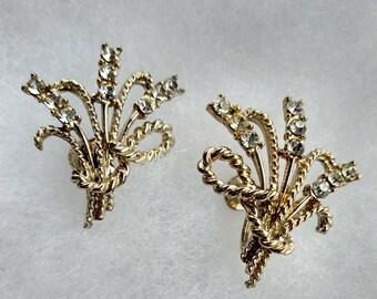 Vintage Coro Screw Back Earrings with Rhinestones