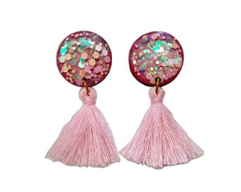 Fairy Floss - Statement Earrings - Clip On Tassel Earrings - Tassel Earrings - Pink Earrings - Statement Tassel Earrings - Lual Boutique
