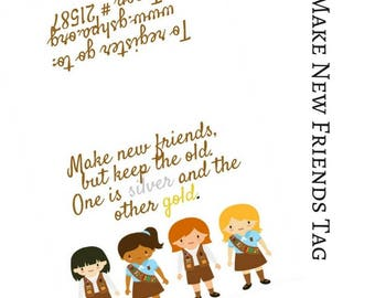 Make New Friends Scout Invite Tags Favor Bags Recruitment