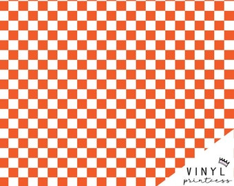 41b99588 Orange and White Checkered Patterned Vinyl - Large Scale Choose From  Adhesive Vinyl, Laminated or Heat Transfer Vinyl HTV - Tennessee