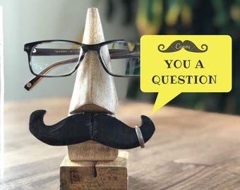 Wooden Eyeglass Holder, Fathers Day Gift, Mustache, Ring Stand, Eyeglass Case,Eyeglass Stand,Ring Holder, Gift for Dad, Funny Gift, Gag Gift