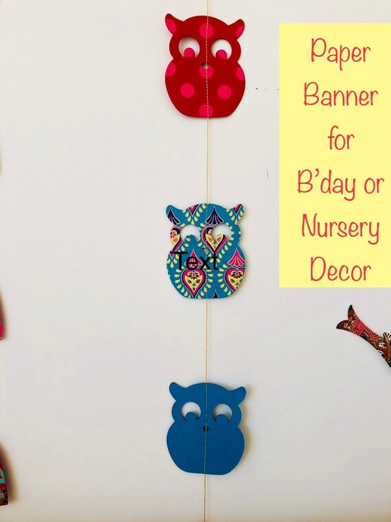 Owl Animal Bunting For Themed Kids Birthday Party Decoration Etsy