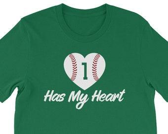 Women's baseball number #1 has my heart t-shirt, baseball mom shirt, baseball mom, baseball shirt, baseball, baseball mom shirts