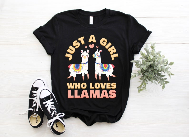 6fee226f7ef3 Just a Girl Who Loves Llamas T-Shirt Funny Llama Shirts Cute   Etsy