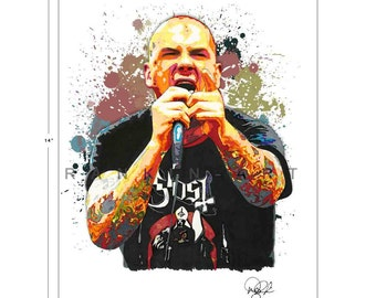 Phil Anselmo of Pantera, Down, 11x14 in, 29x36 cm, Signed Art Print w/ COA