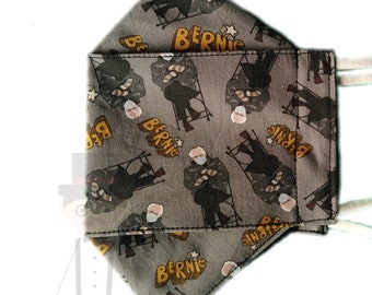 Bernie fitted face mask washable - one size fits most. Adjustable ear straps. Please read description.