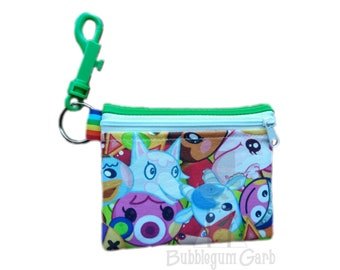 Gamer small pouch, mask pouch, clip on pouch. 4x5in