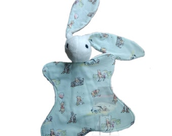 Honey Bear Baby Bunny Lovey.  Please read entire listing! Background is a very light mint.