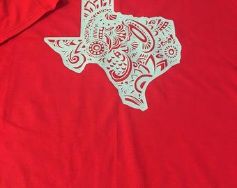 Texas T-shirt Zentangle Texas Red White Blue