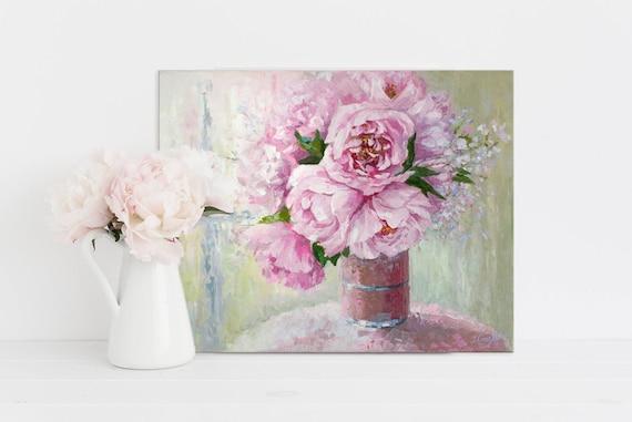 Peony Oil Painting Palette Knife Art Flower Bouquet Wall Art Etsy