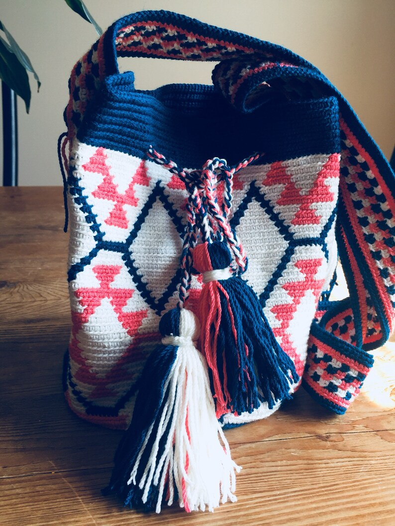 Indian Inspired Mochila Tote  Handmade Crocheted Bag image 0