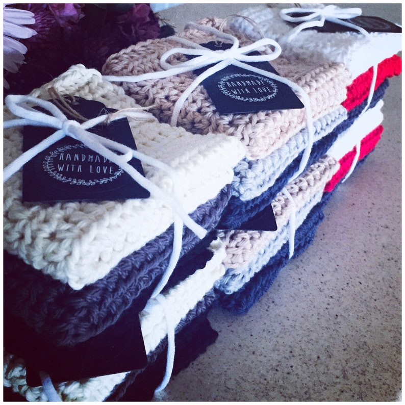 Crocheted Cotton Hand Towels  Handmade Towels image 0