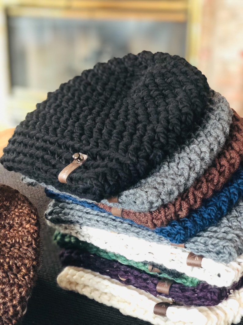 Mens Winter Beanie  Crocheted Hat image 0