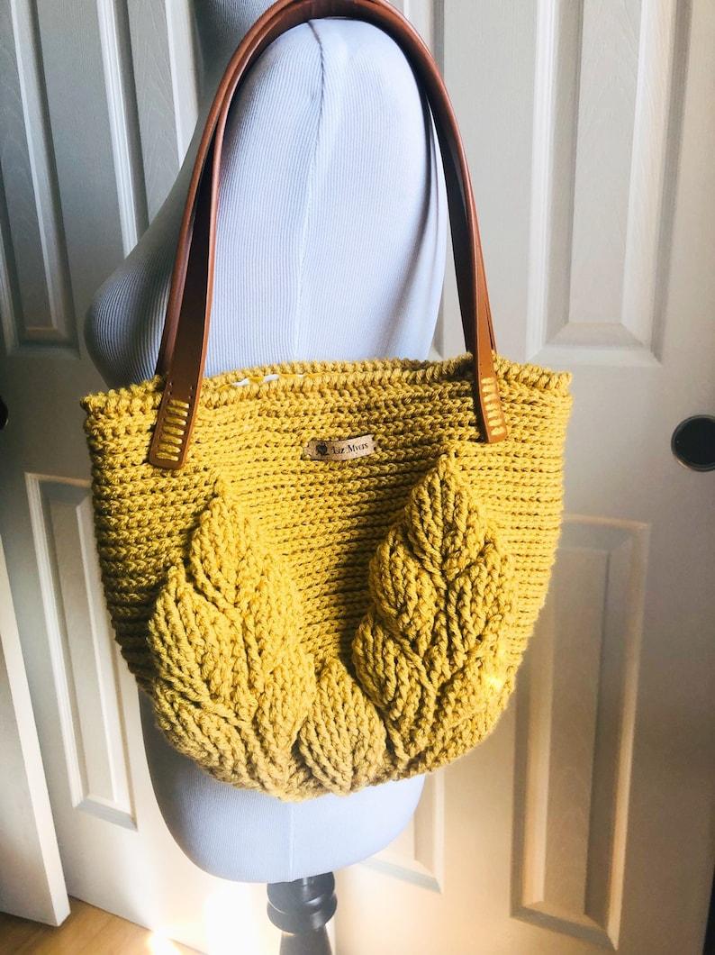 Leaf Bag  Handmade Crocheted Bag image 0