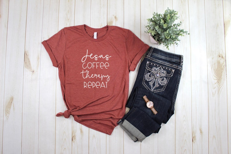 Jesus Coffee Therapy Repeat Tee / Christian Mental Health image 0