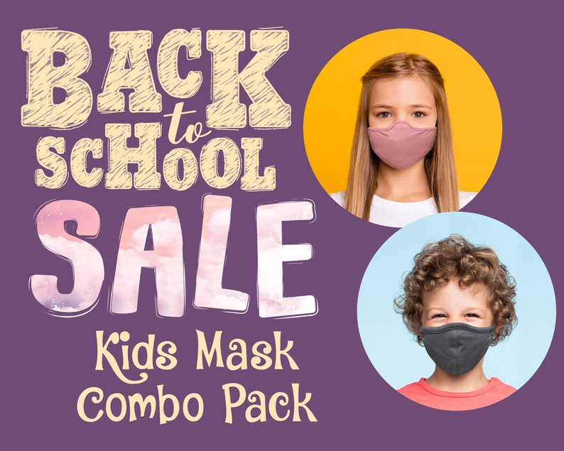I COMBO PACK I Kids Face Mask With Nose Wire Filter Pocket | 3D Cloth Face Mask Adjustable Cotton Triblend | Made in USA ToughCookieClothing photo