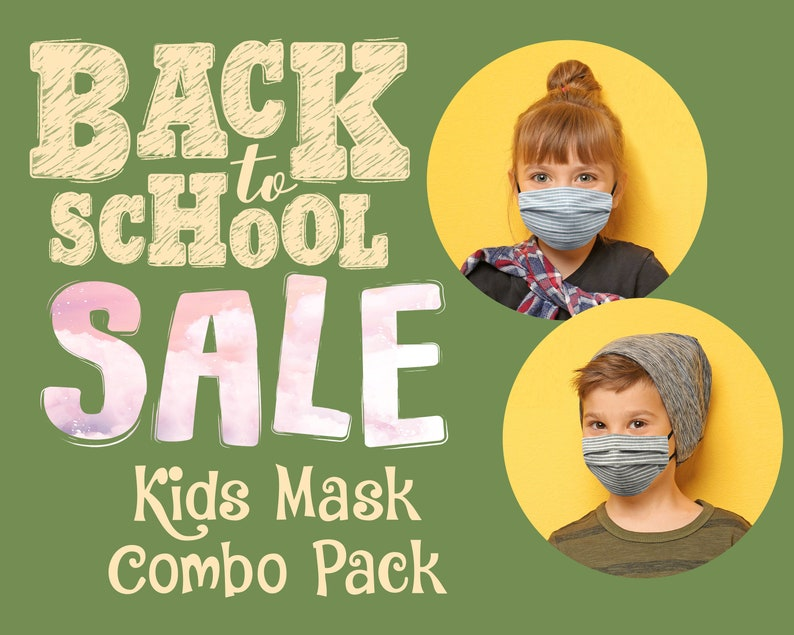 I COMBO PACK I Kids Face Mask with Filter Pocket   4 Layers Pleated Cotton Blend   Washable Breathable   Made in USA by ToughCookieClothing photo