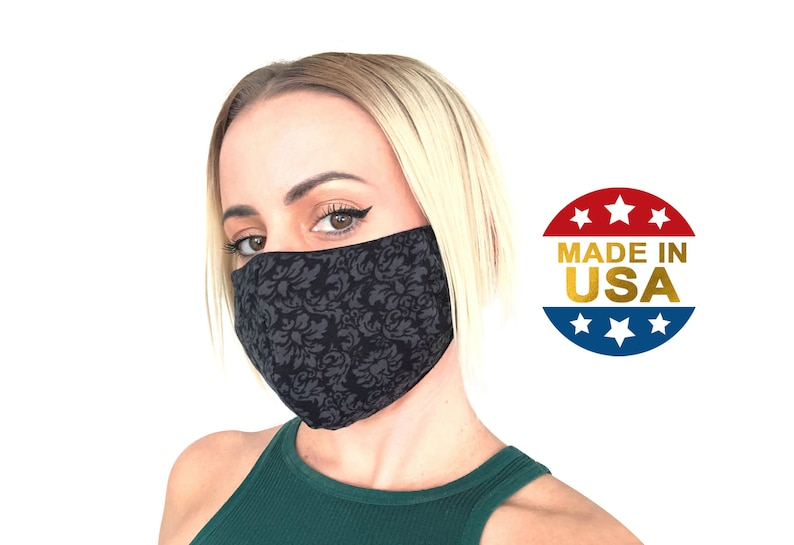 Face Mask with Nose Wire Filter Pocket   Cotton Face Mask Pattern Fabric   3D Washable Breathable Adjustable   Made in USA by Tough Cookie photo