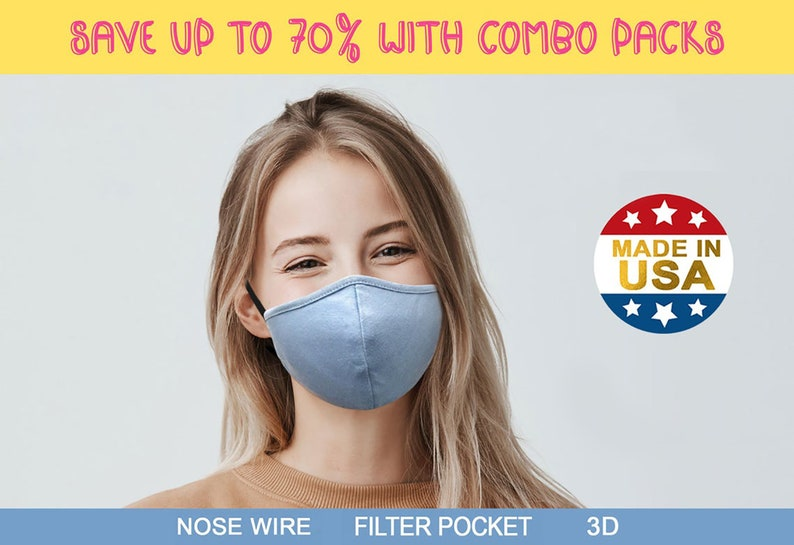 BULK PACK   Face Mask with Nose Wire Filter Pocket   3D Cooler Cloth Face Mask Washable   Made in USA by Tough Cookie ToughCookieClothing photo