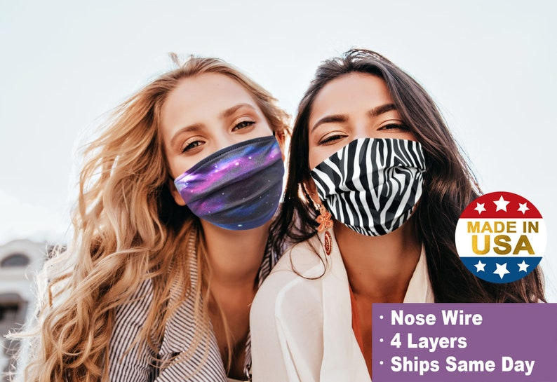 Face Mask with Nose Wire Filter Pocket | 4 Layer Cool Cotton | Adult & Kids | Washable and Reusable | Cute Print Made in USA by Tough Cookie photo