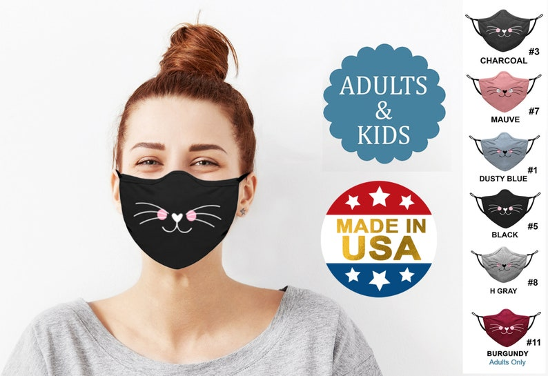 Cloth Face Mask with Filter Pocket | Cotton Washable Reusable | CAT FACE Screen Print | Made in USA by Tough Cookie ToughCookieClothing photo