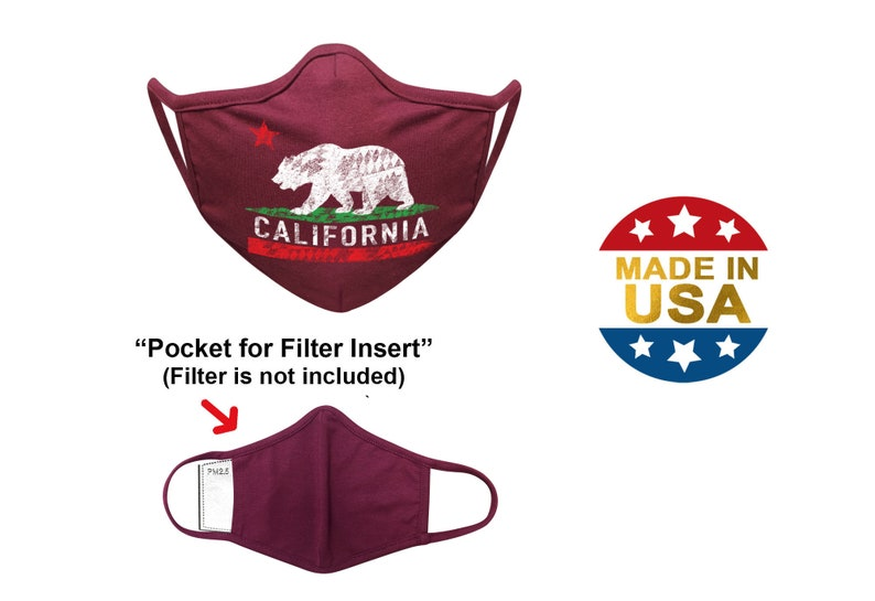 Free Filters for Cotton Face Mask with Filter Pocket   Semi 3D Washable Reusable   CALI BEAR Print   USA by Tough Cookie ToughCookieClothing photo