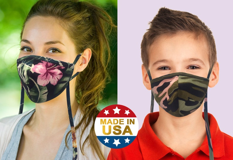 Cotton Face Mask Adjustable Ear Loops Lanyard Neck Strap for Adult & Kids | Washable Reusable Breathable | Made in USA Tough Cookie Masks photo
