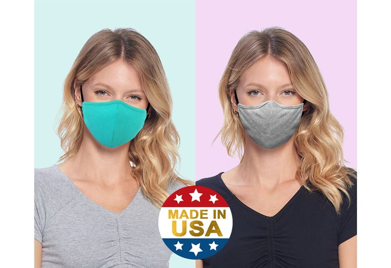 Face Mask with Nose Wire, Color Contrast Mask, 3D & Semi 3D Adult Mask w/ Pocket, Strap   Cotton Blend Washable   Made in USA Tough Cookie photo